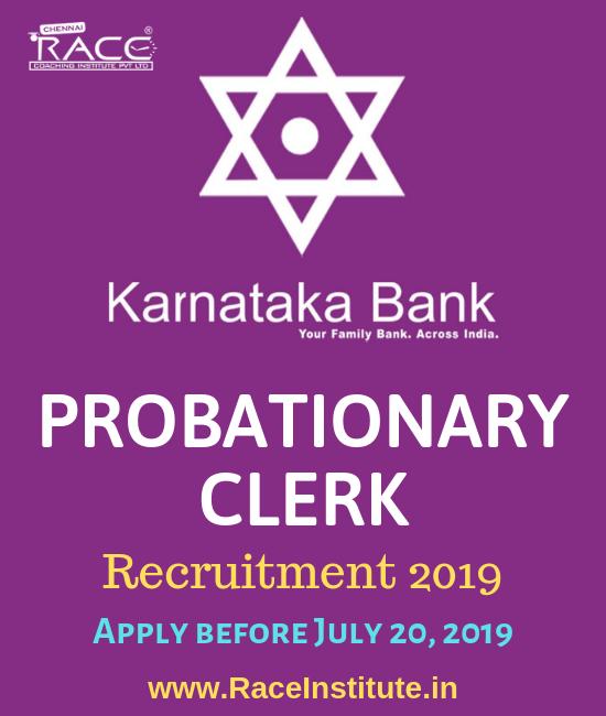 KARNATAKA BANK PROBATIONARY CLERK RECRUITMENT 2019-APPLY ONLINE-RACE