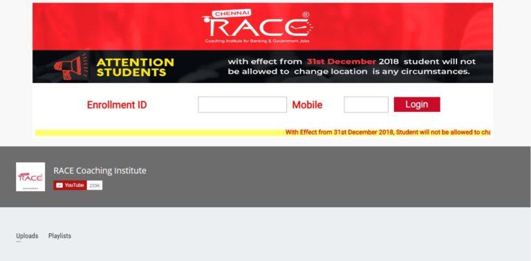 RACE INSTITUTE - STUDENT DASHBOARD - simbatech login screen-RACE INSTITUTE