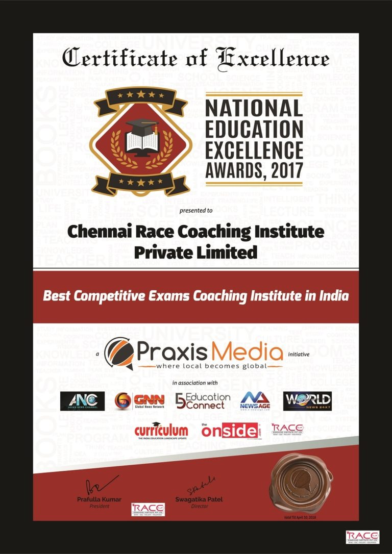 Chennai-Race-Coaching-Institute-Private-Limited-awarded-the-Best-Competitive-Exams-Coaching-Institute-in-India-by-Praxis-Media-in-New-Delhi-min