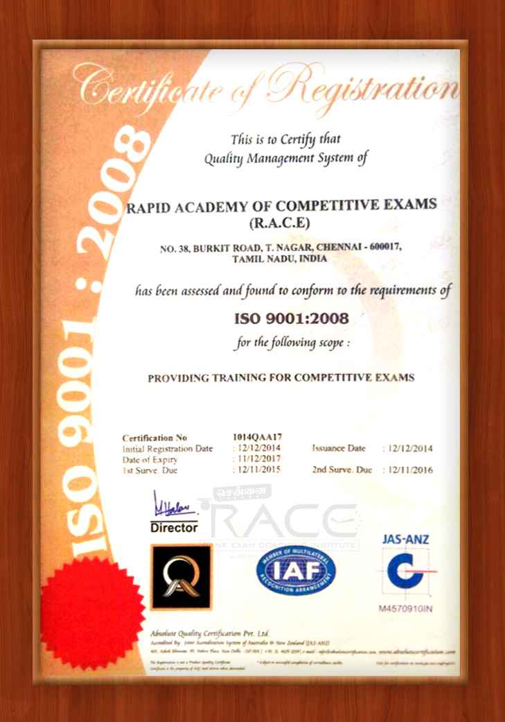 chennai-race-institute-iso-certificate-the-best-coaching-institute-for-bank-and-ssc-exams