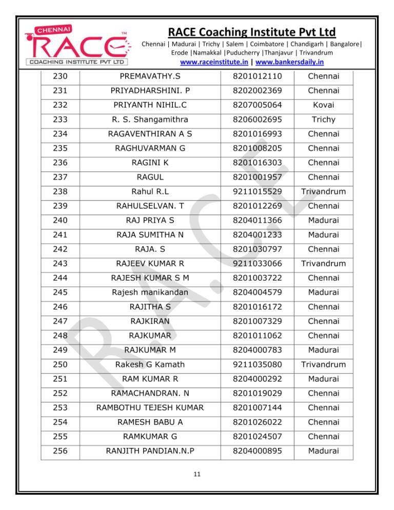 SSC CGL TIER 1 RESULT CHENNAI RACE COACHING INSTITUTE PVT LTD