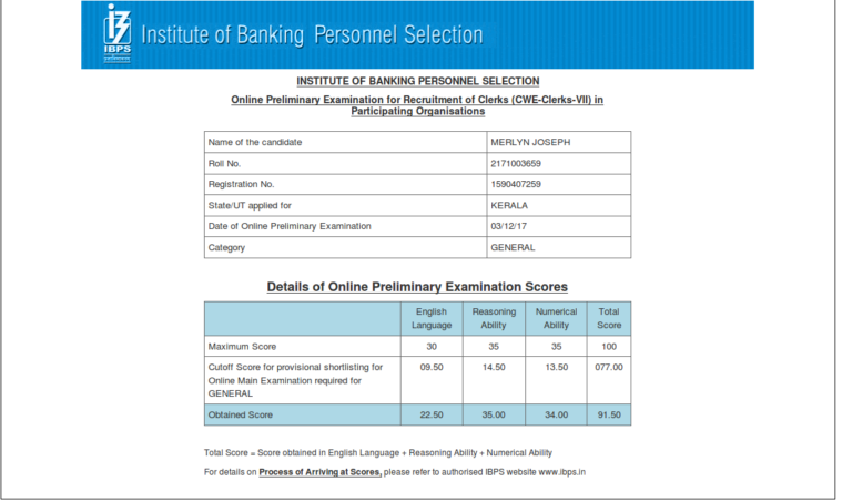 Chennai RACE Institute student Ibps Clerk prelims result - best coaching bank po