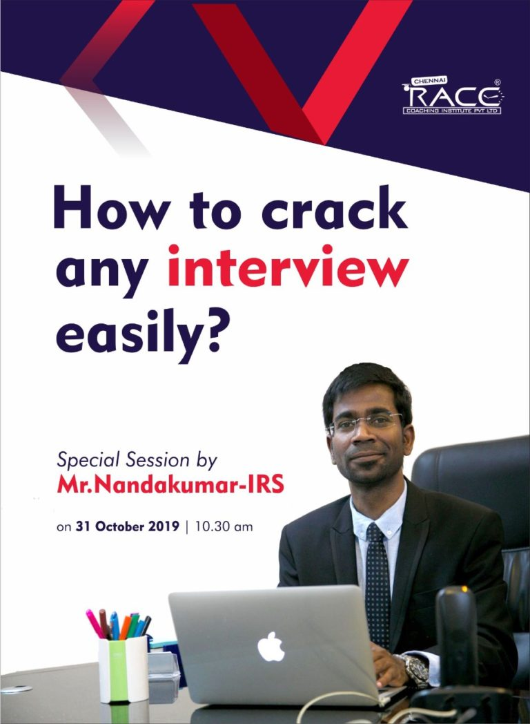 How to crack any Interview easily - A sperical motivational session by Mr Nandakumar IRS - RACE Institute Best Bank ssc and TNPSC exam coaching institute in india