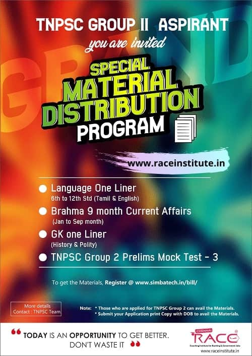 TNPSC Group II Material Kit Distribution in RACE institute