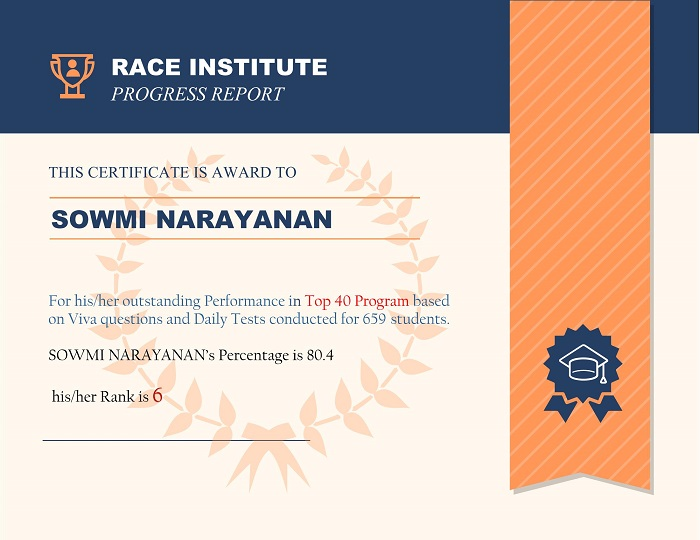 top performer at RACE Institute Rank-6