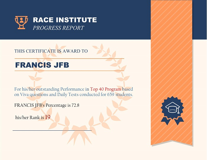 top performer at RACE Institute Rank-19