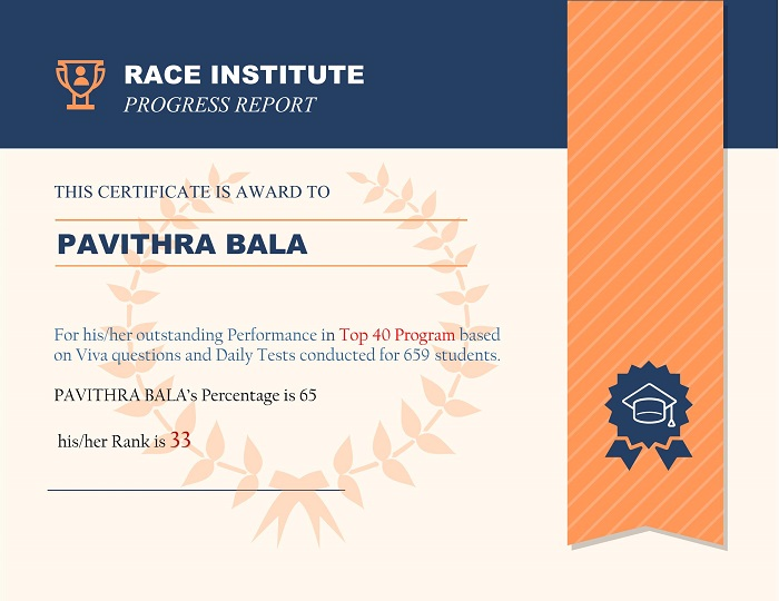 top performer at RACE Institute Rank-33
