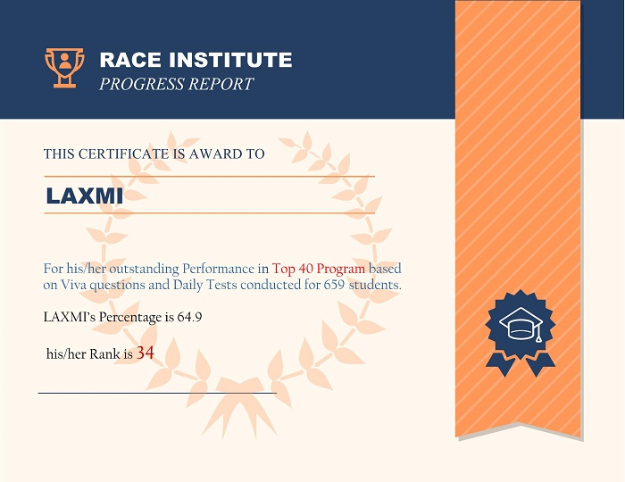 top performer at RACE Institute Rank-34