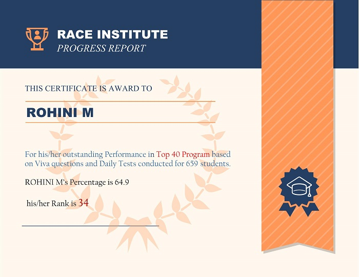 top performer at RACE Institute Rank-35